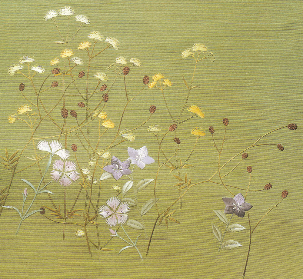 日本刺繍の技法「斜めぬいきり」