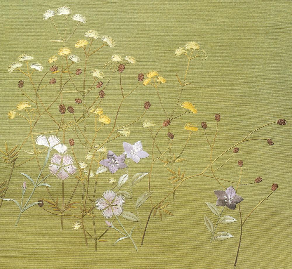 日本刺繍の技法「ぬき地引き~さがらぬい」