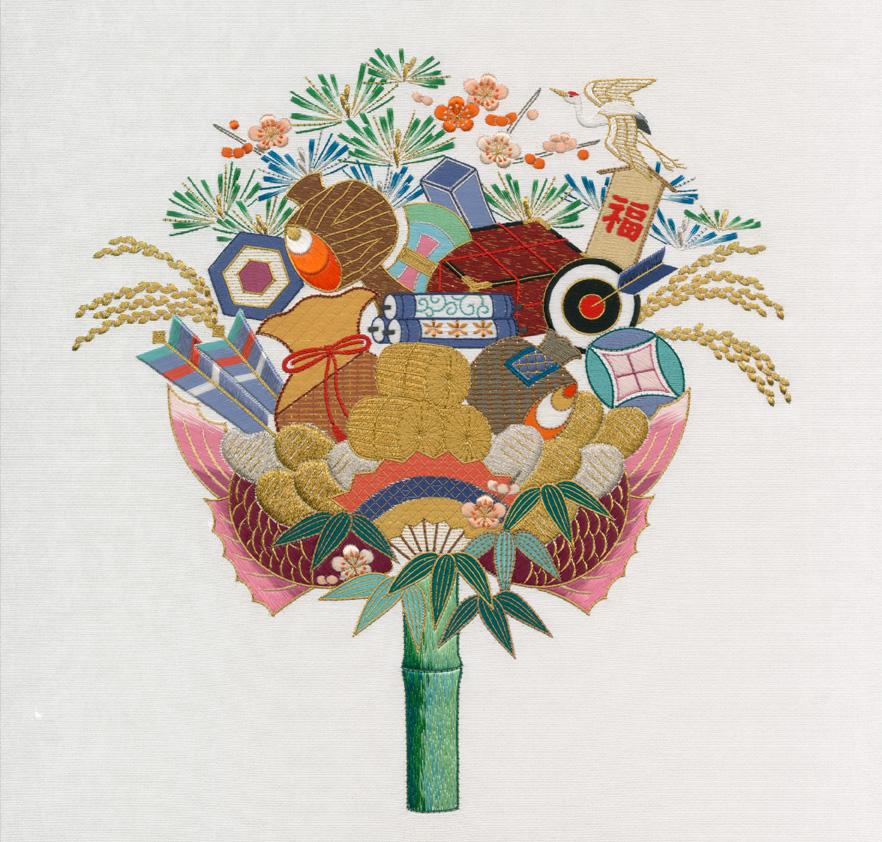 日本刺繍の技法 駒取り1回~引っ張りとじ(金糸)