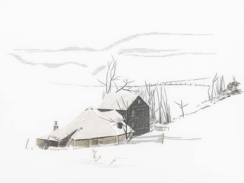 刺繍作品「雪景色」